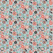Papillon by Makower UK - 5158 - Coral Floral on Pale Blue - 1762_T - Cotton Fabric